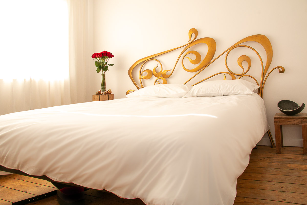 Art Nouveau Inspired Wrought Iron Bed