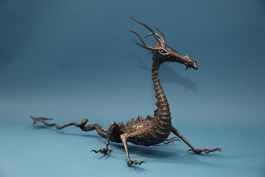 Welded steel metal dragon sculpture