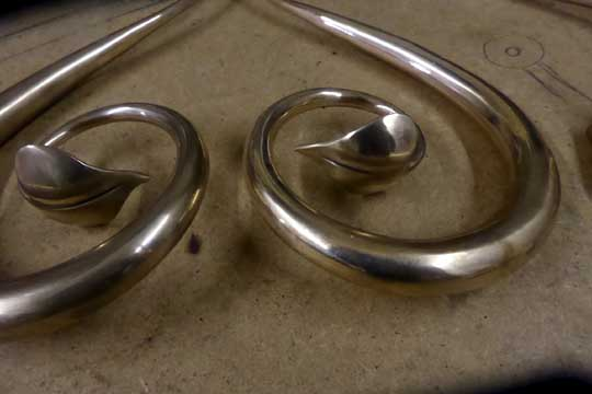 mirror finish polish bronze door handles