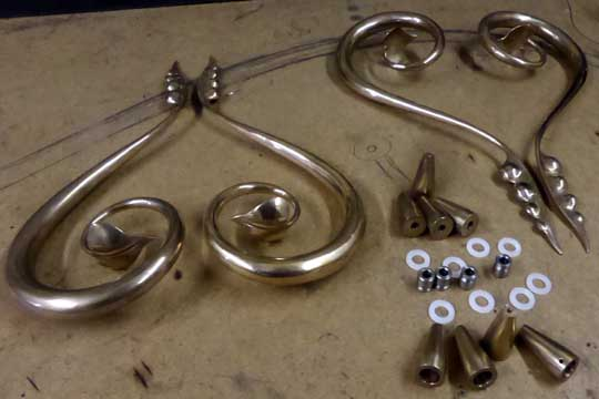 mirror finished polished bronze door handles