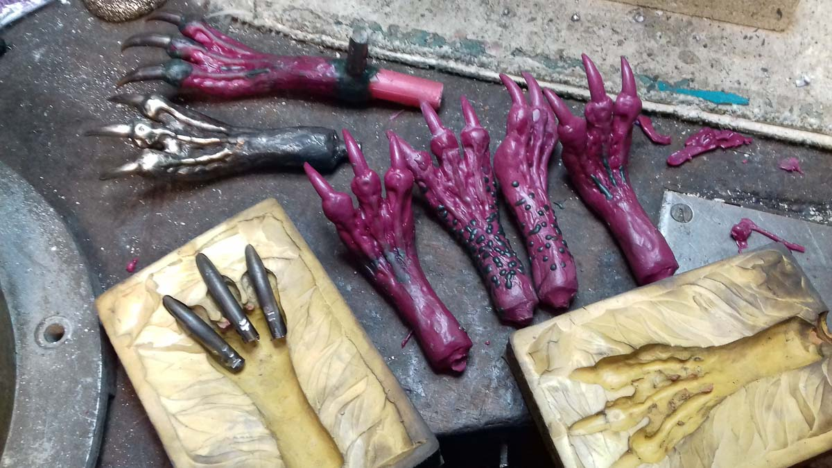 Metal dragon claws talons and feet being made