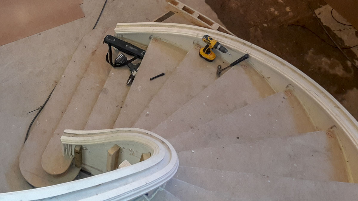 Elliptical stairs with complicated geometry