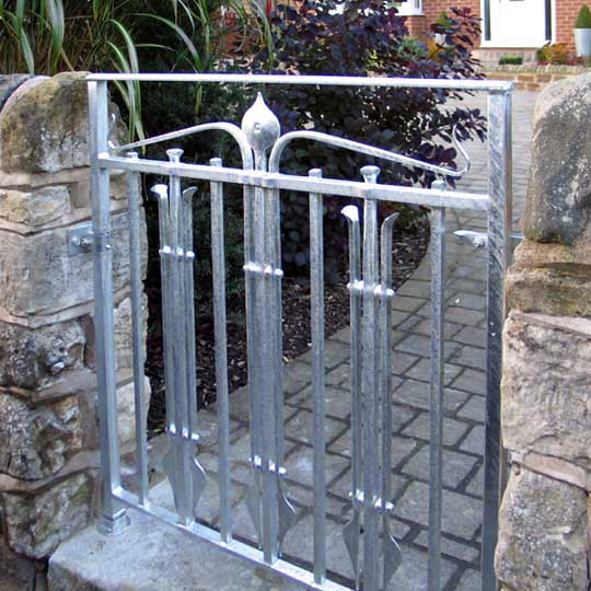 Arts and Crafts Inspired Handmade Wrought Iron Gate